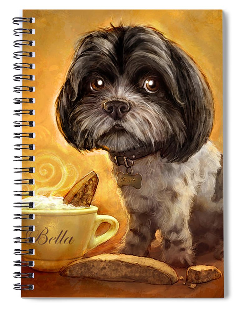 Dog Spiral Notebook featuring the painting Bella's Biscotti by Sean ODaniels