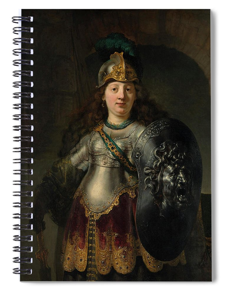 Bellona Spiral Notebook featuring the painting Bellona by Rembrandt Harmenszoon van Rijn