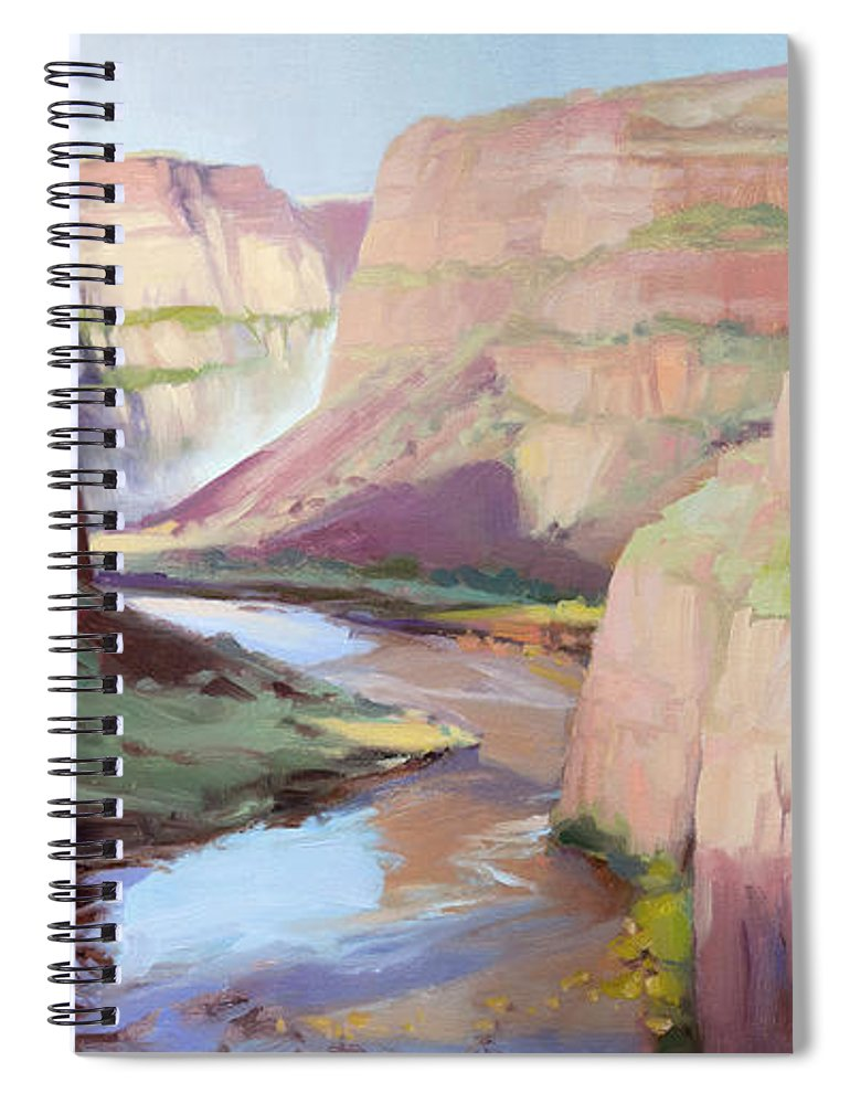 Waterfall Spiral Notebook featuring the painting Below Palouse Falls by Steve Henderson
