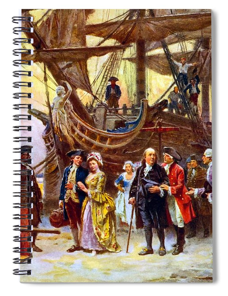 Benjamin Franklin Spiral Notebook featuring the painting Ben Franklin Returns To Philadelphia by War Is Hell Store