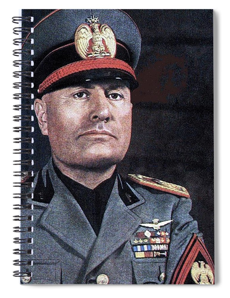 Benito Mussolini Color Portrait Circa 1935 Spiral Notebook featuring the photograph Benito Mussolini Color Portrait Circa 1935 by David Lee Guss