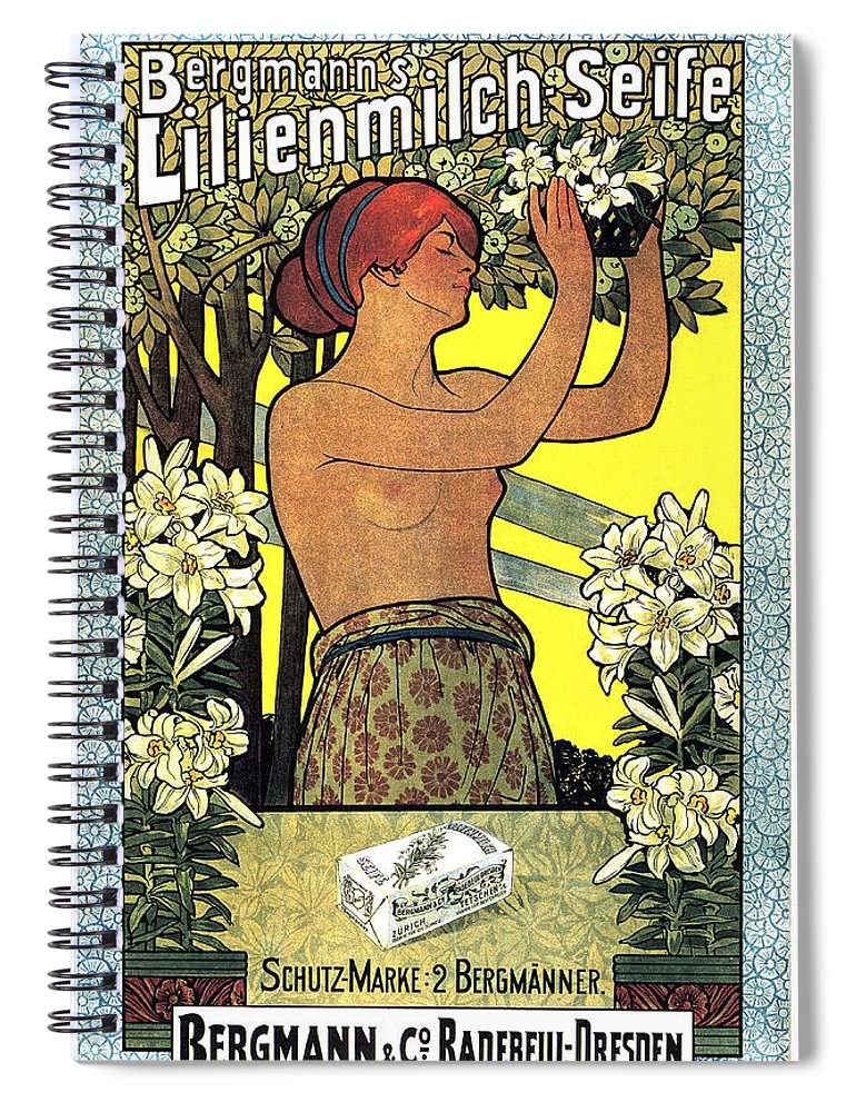 Vintage Spiral Notebook featuring the mixed media Bergmann's Lilienmilch Seife - Vintage German Advertising Poster - Cosmetics And Soap by Studio Grafiikka