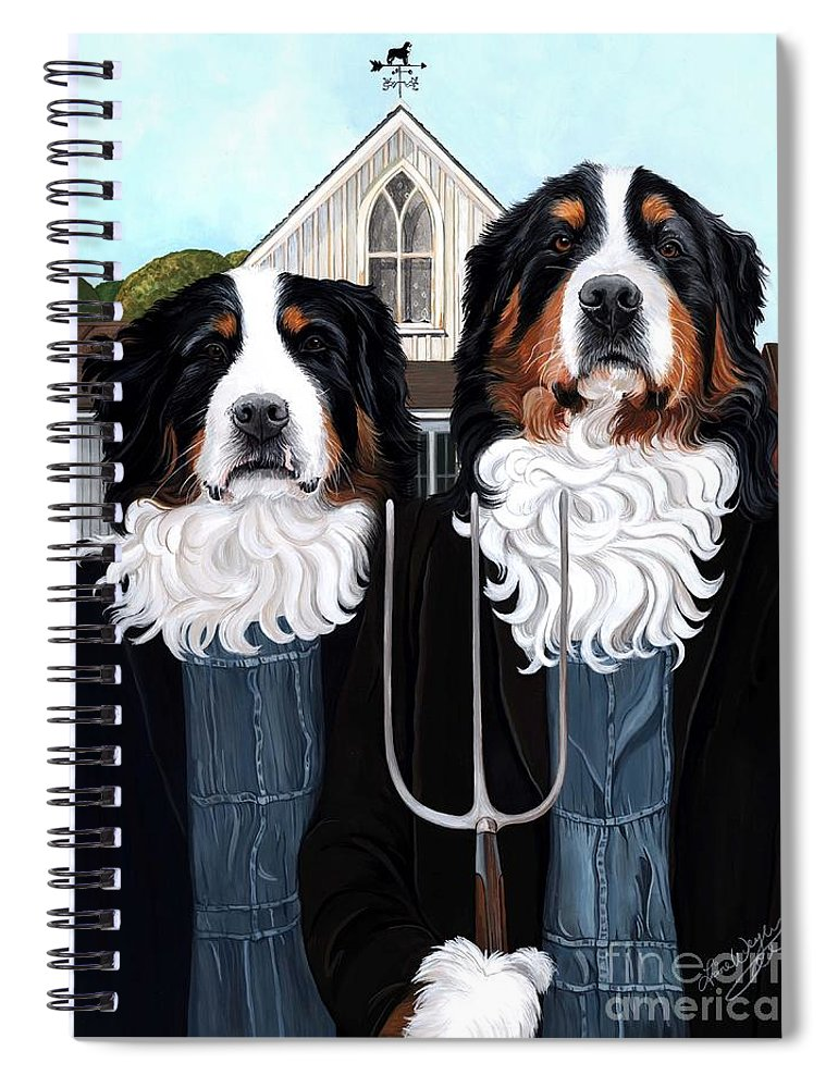 Bernese Mountain Dog Gothic Spiral Notebook featuring the painting Berner Gothic - Bernese Mountain Dog by Liane Weyers