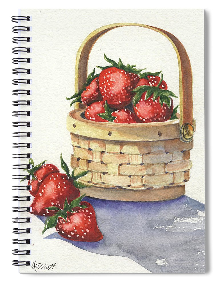 Berry Spiral Notebook featuring the painting Berry Nice by Marsha Elliott