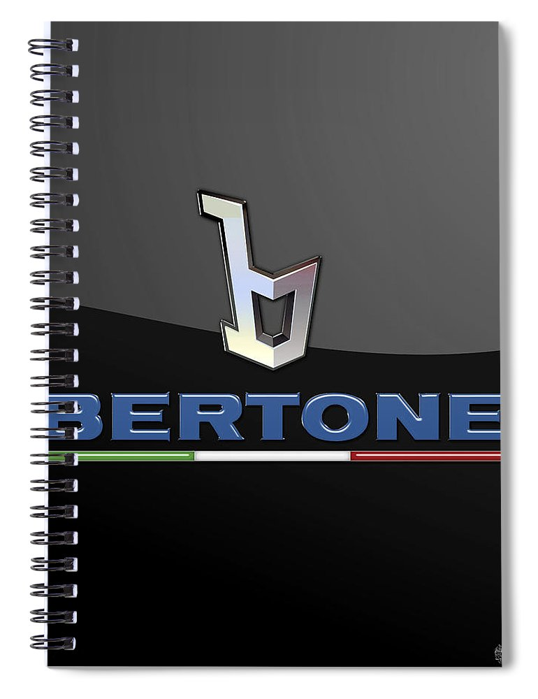 'auto Badges' Collection By Serge Averbukh Spiral Notebook featuring the photograph Bertone - 3 D Badge On Black by Serge Averbukh