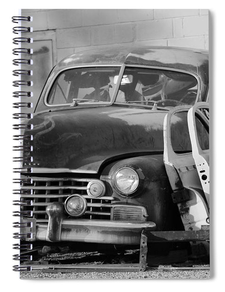 Classic Cadillac Spiral Notebook featuring the photograph Better Days In Black And White by Colleen Cornelius