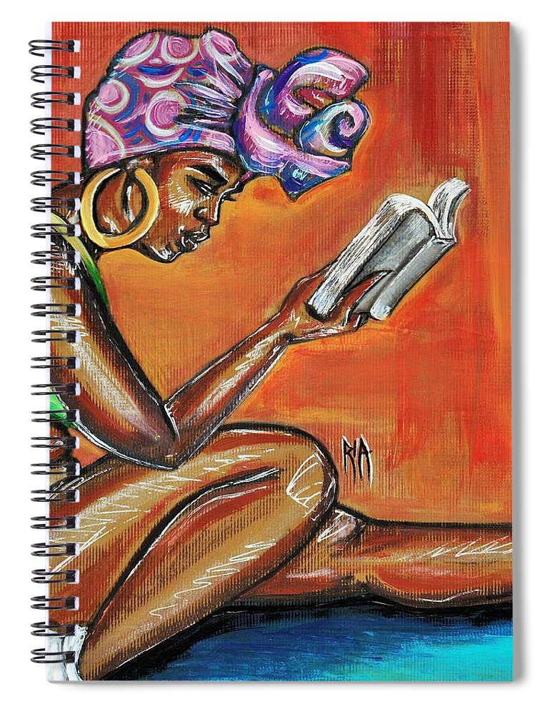 Bible Spiral Notebook featuring the painting Bible Reading by Artist RiA