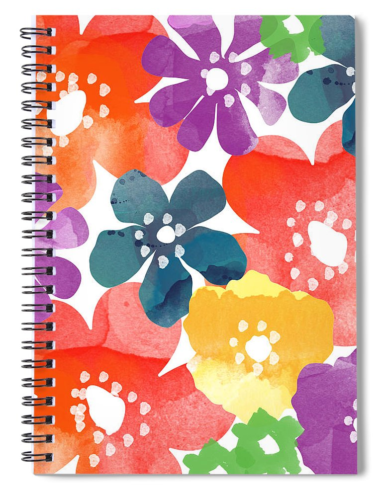 Flowers Spiral Notebook featuring the painting Big Bright Flowers by Linda Woods