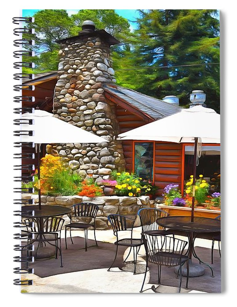 Barbara Snyder Spiral Notebook featuring the painting Big Sur Inn Pacific Coast Highway by Barbara Snyder