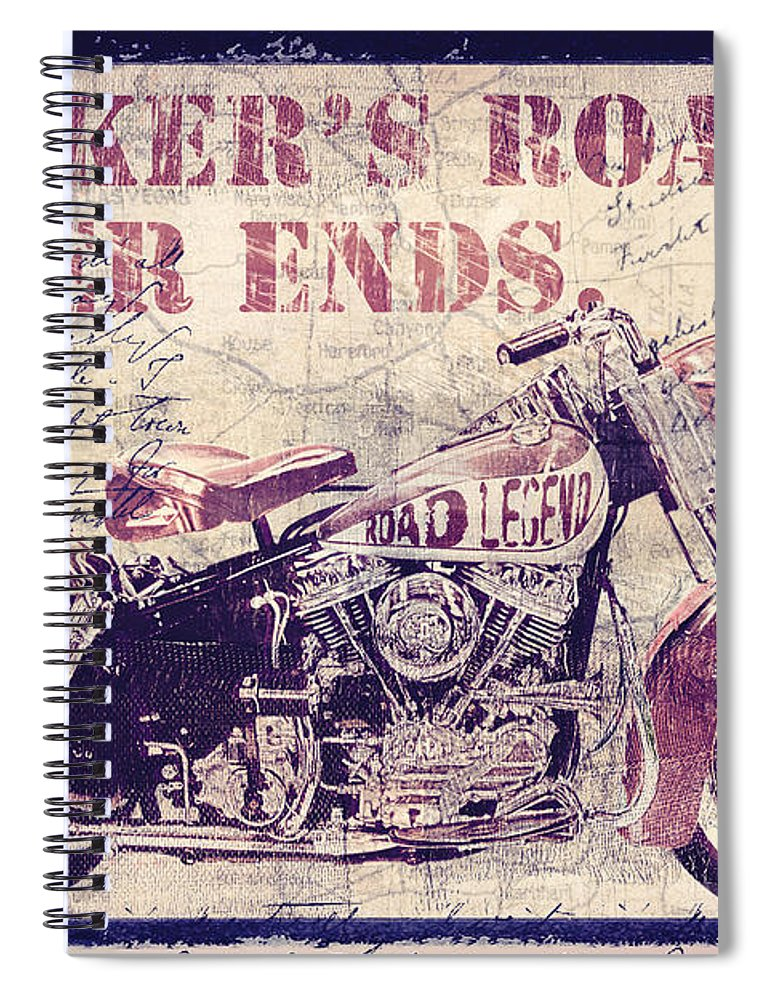 Mancave Spiral Notebook featuring the painting Biker's Road Never Ends by Mindy Sommers