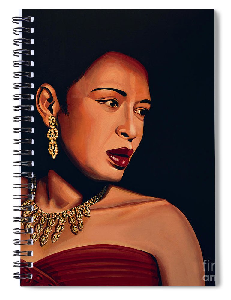 Billie Holiday Spiral Notebook featuring the painting Billie Holiday by Paul Meijering