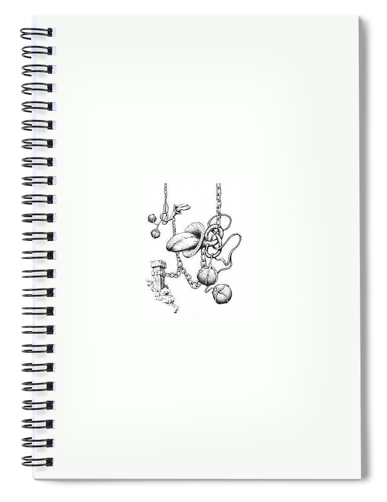 Relationahip Spiral Notebook featuring the drawing Binding Relationship by Sam Sidders