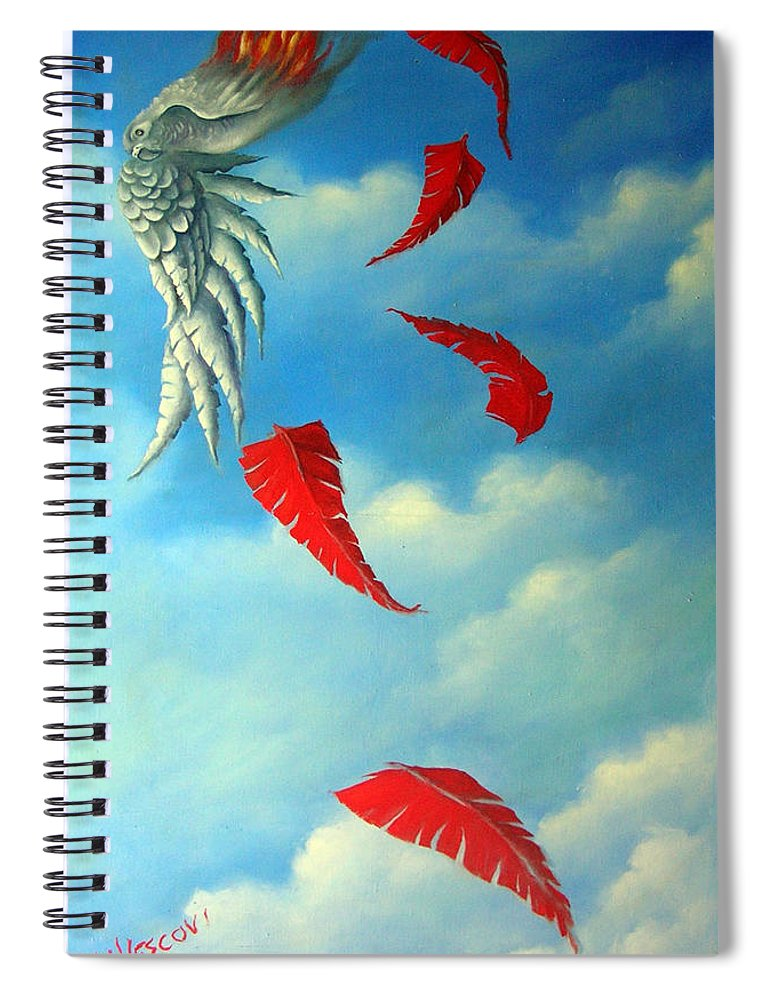 Surreal Spiral Notebook featuring the painting Bird on Fire by Valerie Vescovi