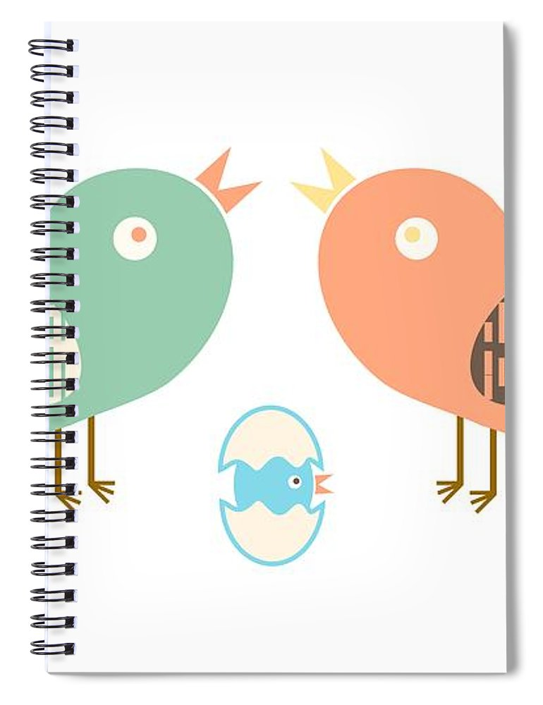 Nature Spiral Notebook featuring the digital art Birds And Egg by Gaspar Avila
