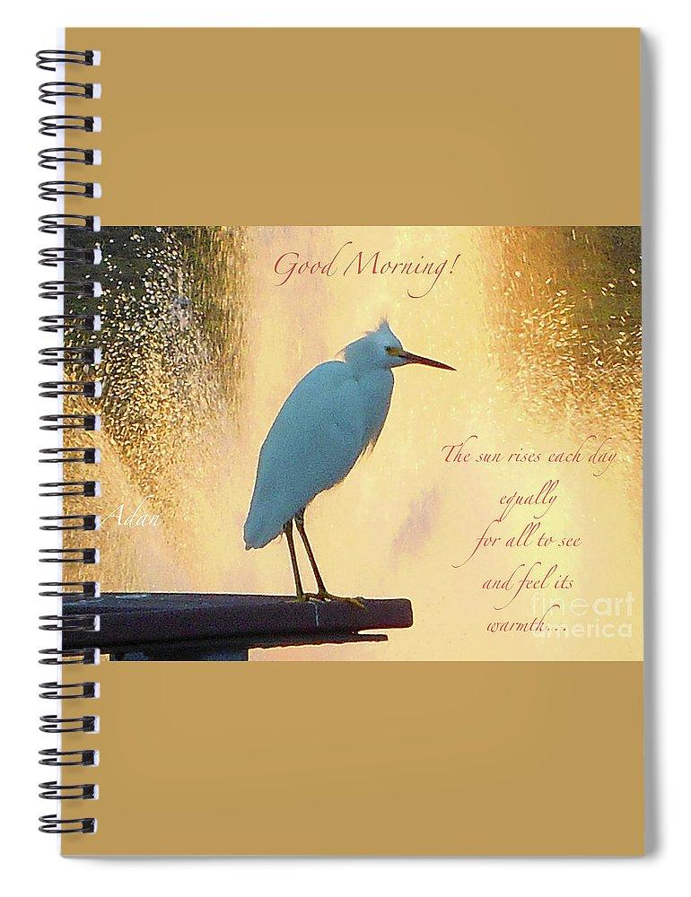 Butler Park Spiral Notebook featuring the photograph Birds And Fun At Butler Park Austin - Birds 3 Detail Macro Poster - Good Morning by Felipe Adan Lerma