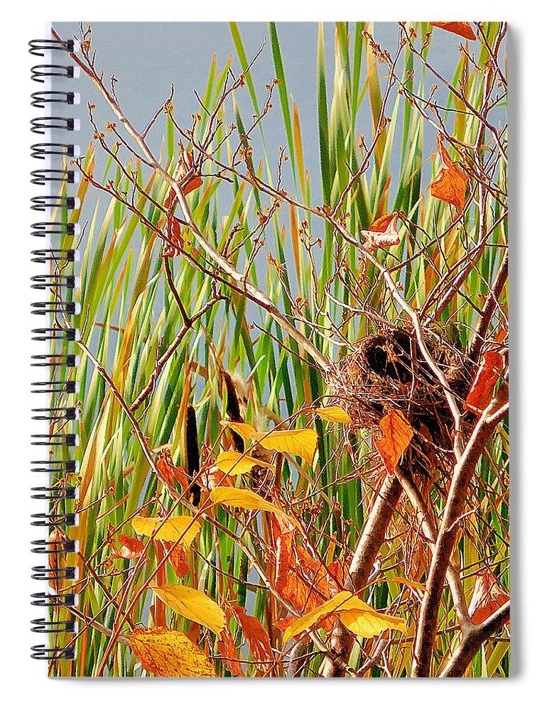 Bird's Nest Spiral Notebook featuring the painting Bird's Nest 2 by Jeelan Clark