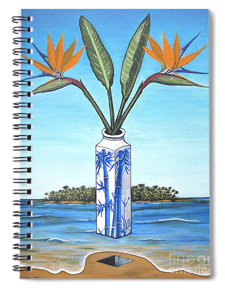 Bird Of Paradise Spiral Notebook featuring the painting Birds Over Paradise Flowers by Jerome Stumphauzer