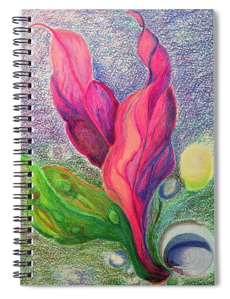 Seascape Nature Plants Seas Water Growth Sealife Birth Spiral Notebook featuring the drawing Birth by Suzanne Udell Levinger