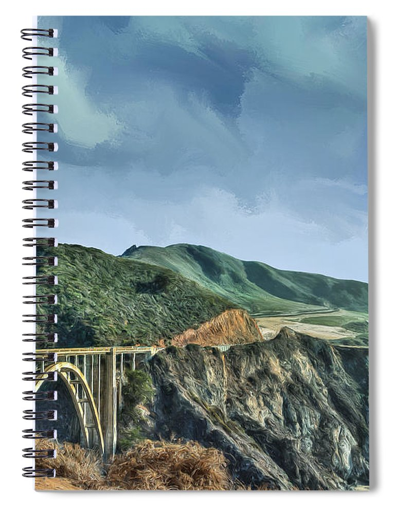 Big Sur Spiral Notebook featuring the painting Bixby Creek Bridge And Big Sur Coast by Dominic Piperata