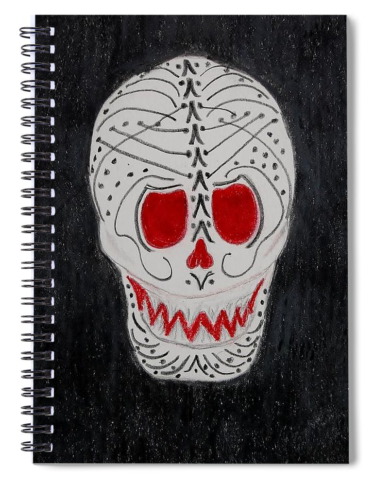 Skull Spiral Notebook featuring the mixed media Black And Red by Charla Van Vlack