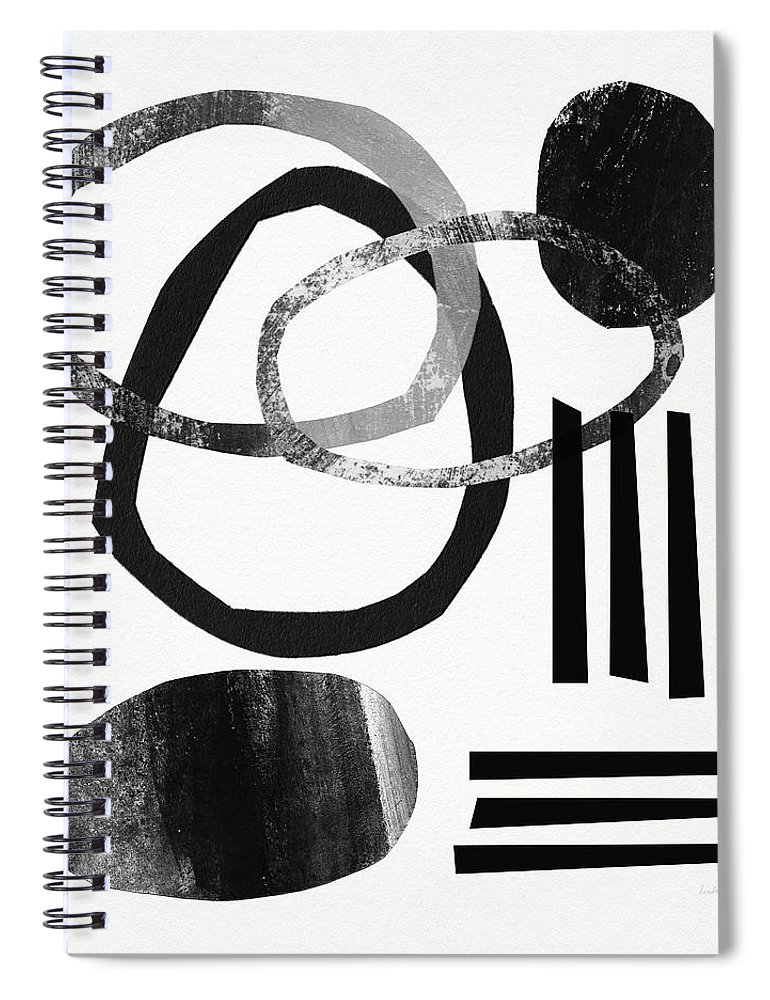 Black And White Abstract Spiral Notebook featuring the mixed media Black And White- Abstract Art by Linda Woods