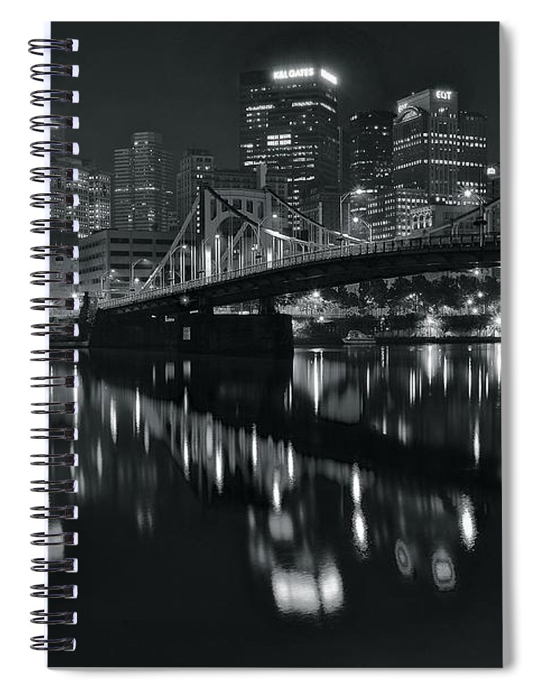 Pittsburgh Spiral Notebook featuring the photograph Black And White Lights by Frozen in Time Fine Art Photography
