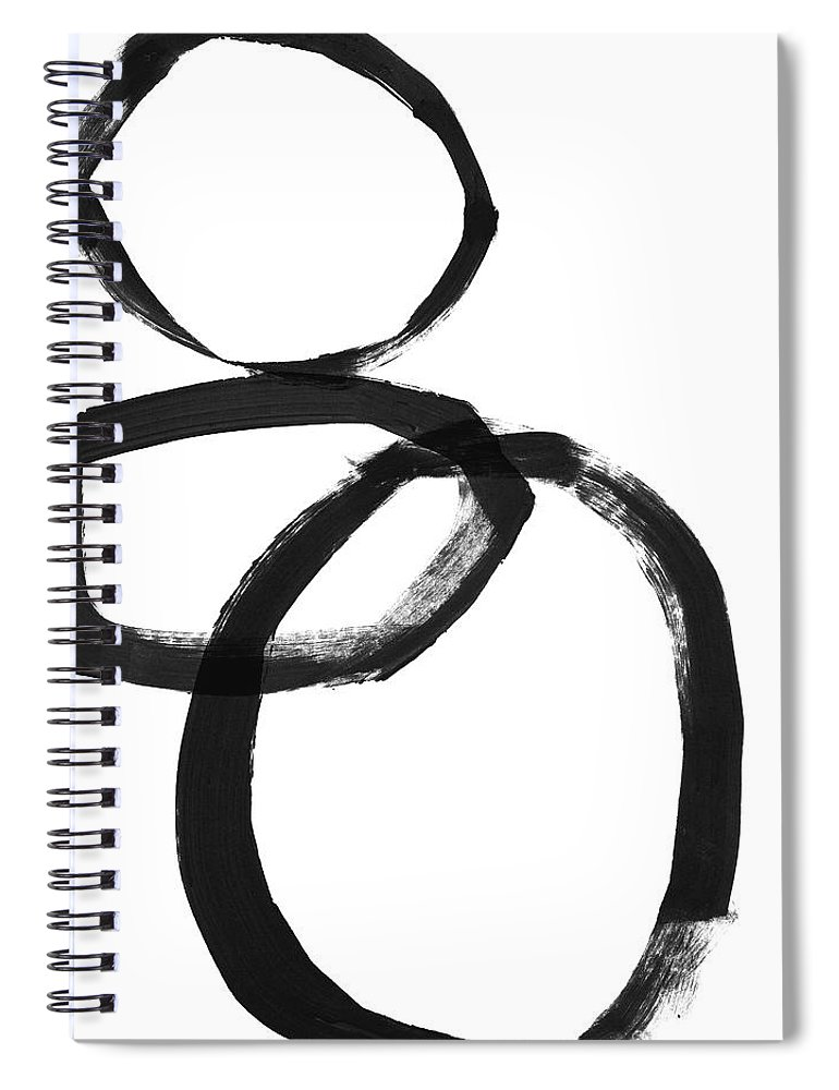 Abstract Spiral Notebook featuring the mixed media Black Brushstroke Circles 1- Art By Linda Woods by Linda Woods