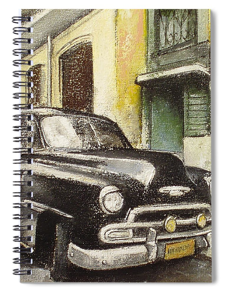 Car Spiral Notebook featuring the painting Black cadillac by Tomas Castano