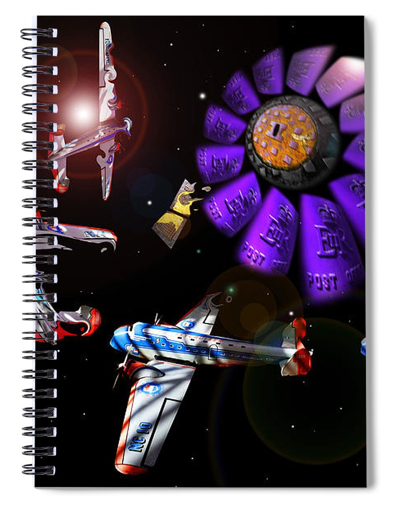 Scifi Spiral Notebook featuring the digital art Black Dwarf by Charles Stuart