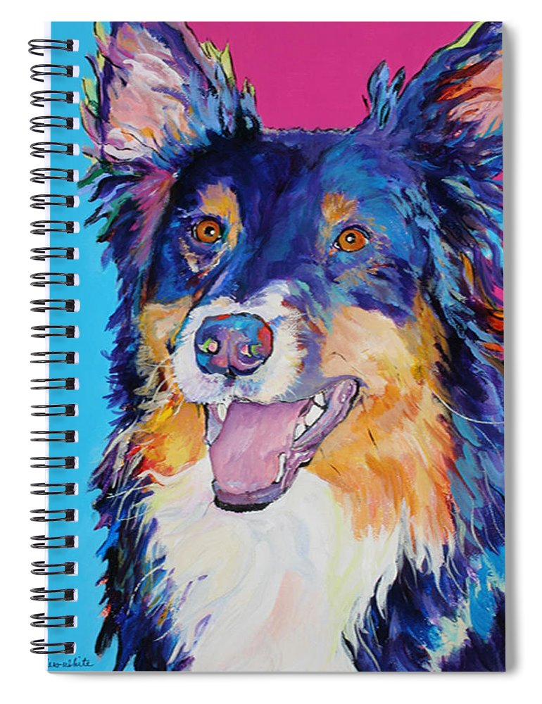 Dog Spiral Notebook featuring the painting BlackJack by Pat Saunders-White