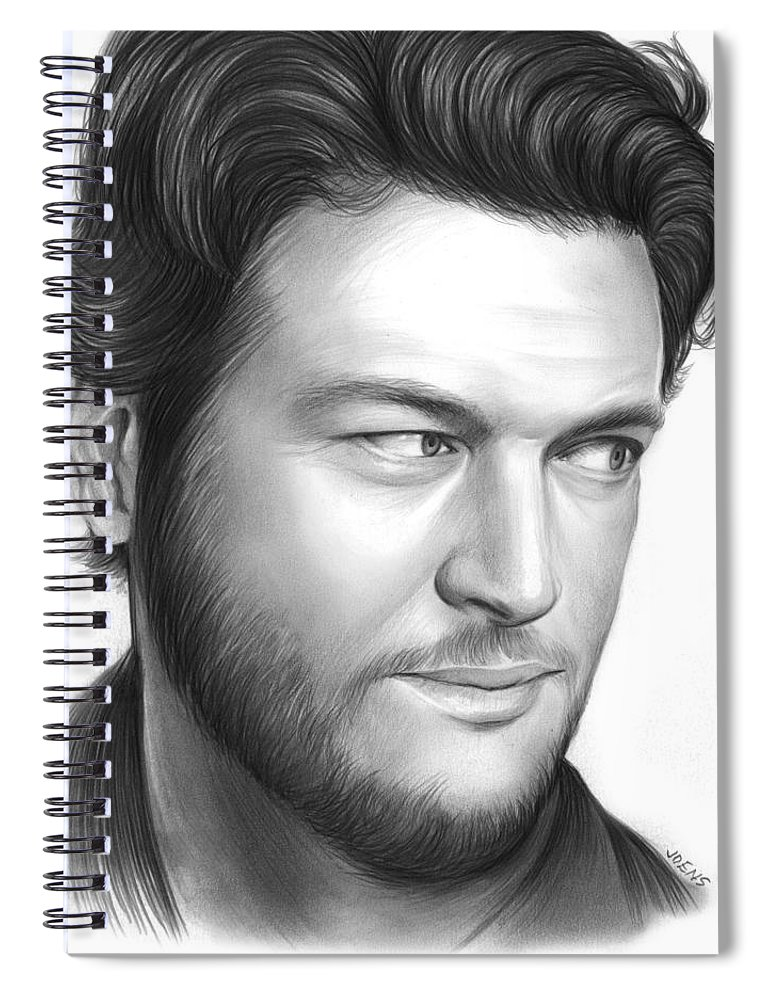 Celebrity Spiral Notebook featuring the drawing Blake Shelton by Greg Joens