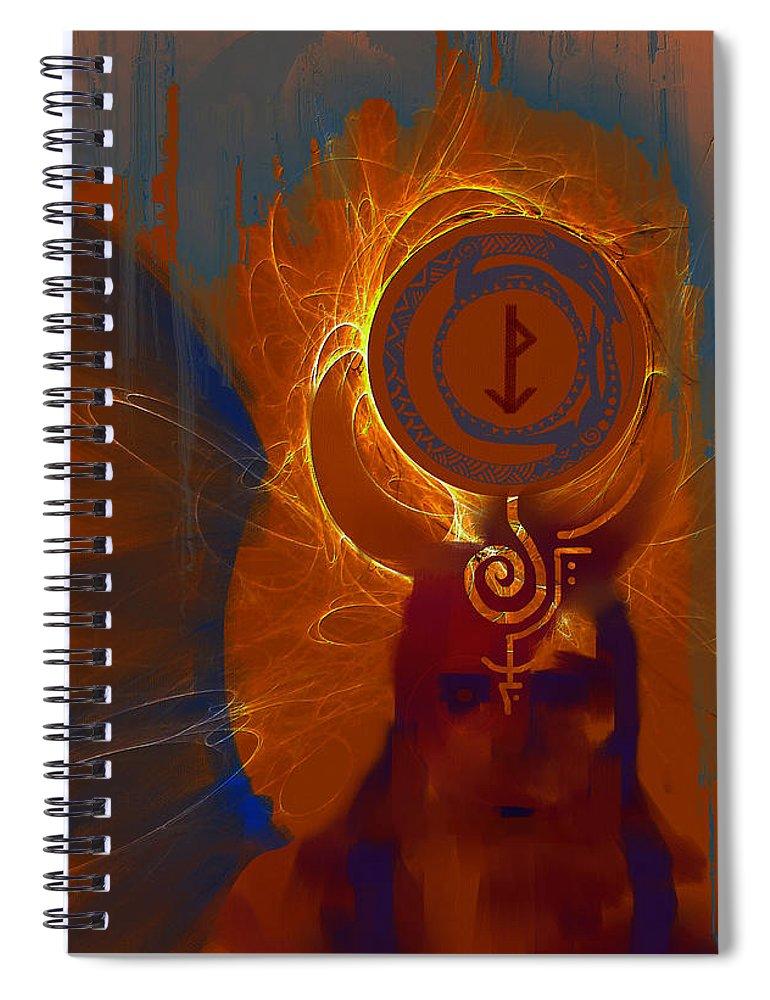 Spiritual Spiral Notebook featuring the digital art Blazzing Wisdom Through Odins Essence by Stephen Lucas
