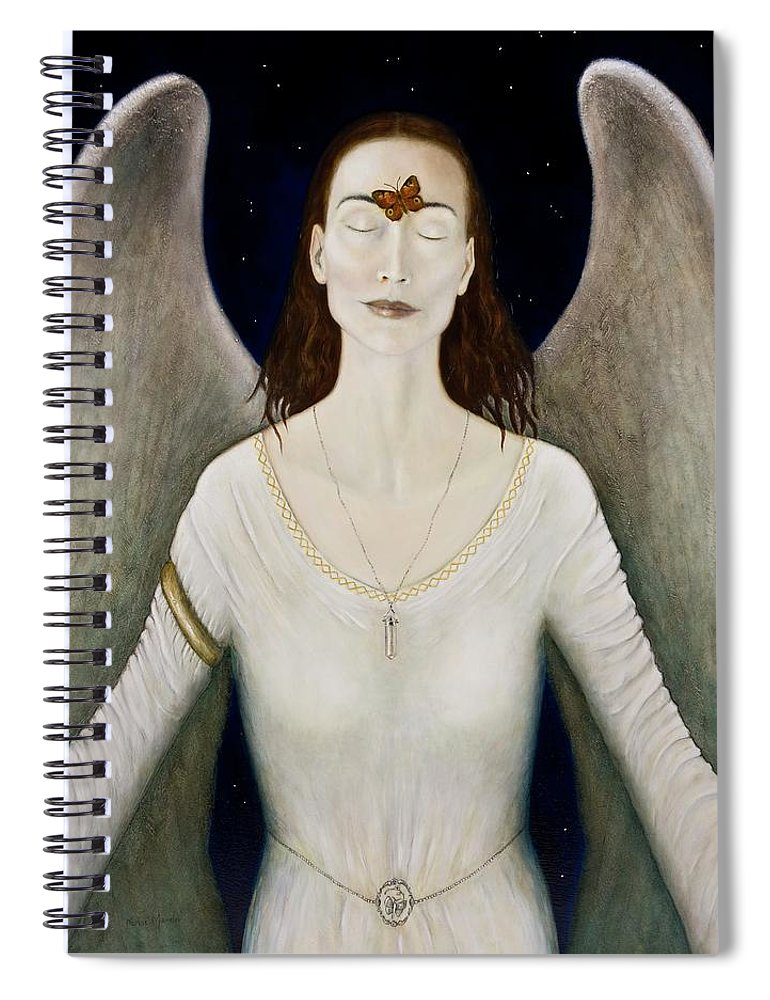 Angel Spiral Notebook featuring the painting Blessed By A Winged Being by Nanne Nyander