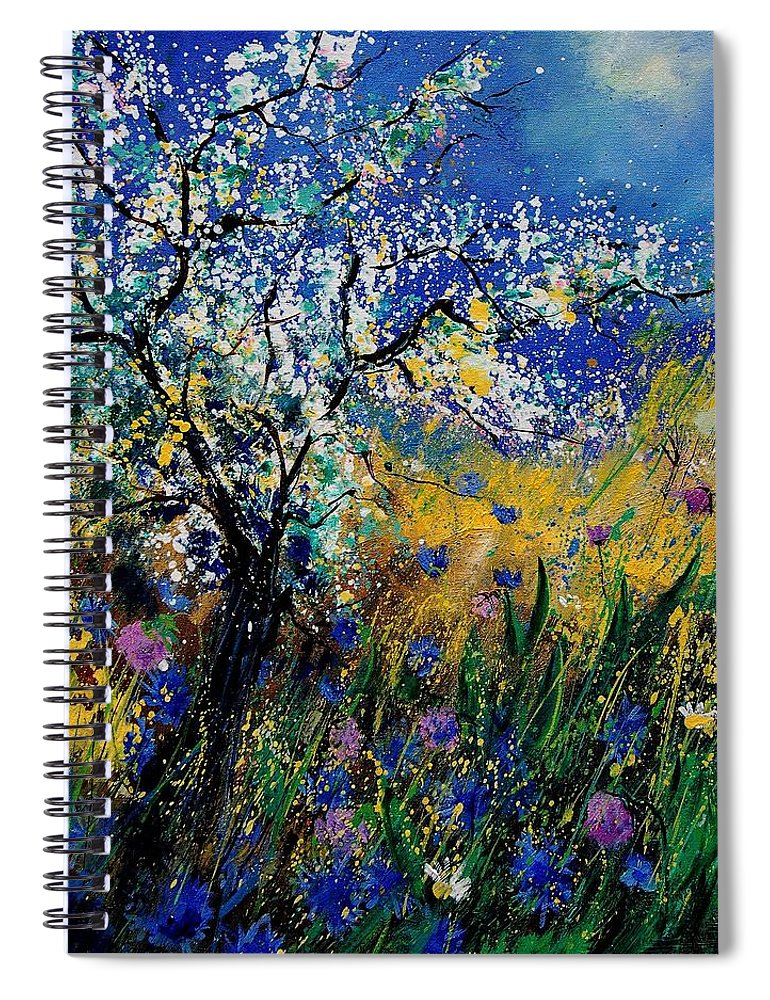 Spring Spiral Notebook featuring the painting Blooming appletree by Pol Ledent