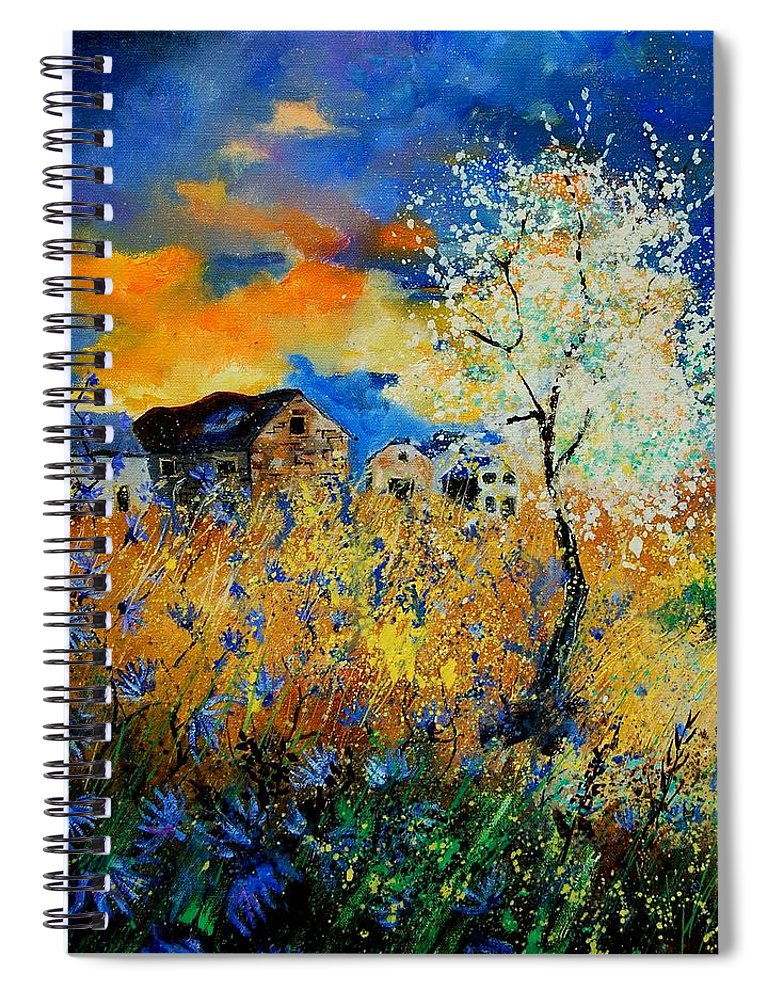 Poppies Spiral Notebook featuring the painting Blooming trees by Pol Ledent