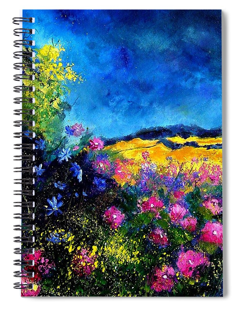 Landscape Spiral Notebook featuring the painting Blue and pink flowers by Pol Ledent
