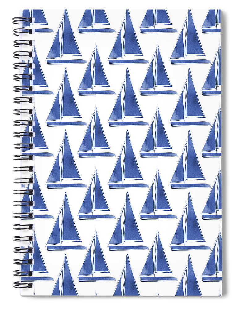 Boats Spiral Notebook featuring the digital art Blue and White Sailboats Pattern- Art by Linda Woods by Linda Woods