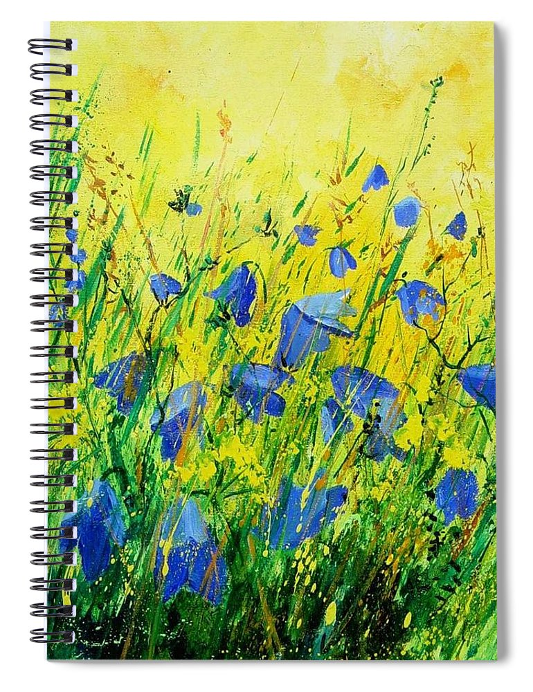 Poppies Spiral Notebook featuring the painting Blue bells by Pol Ledent
