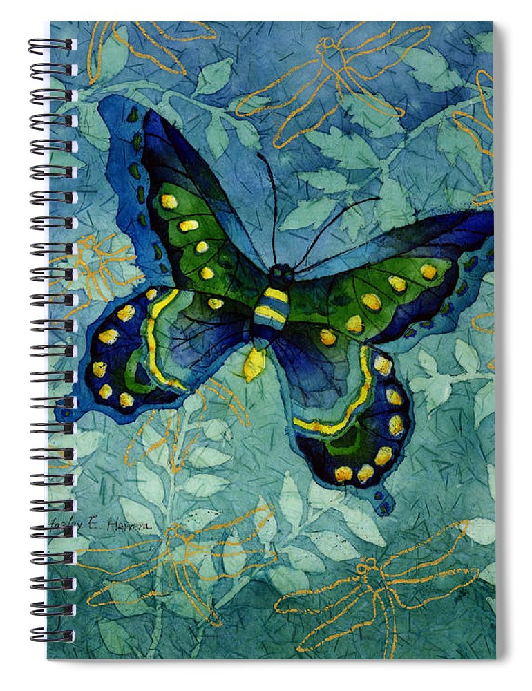 Butterfly Spiral Notebook featuring the painting Blue Butterfly by Hailey E Herrera