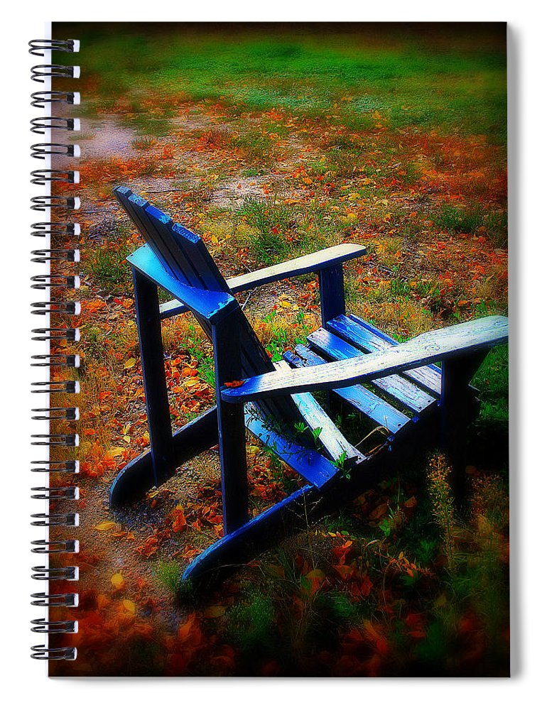 Chair Spiral Notebook featuring the photograph Blue Chair by Perry Webster