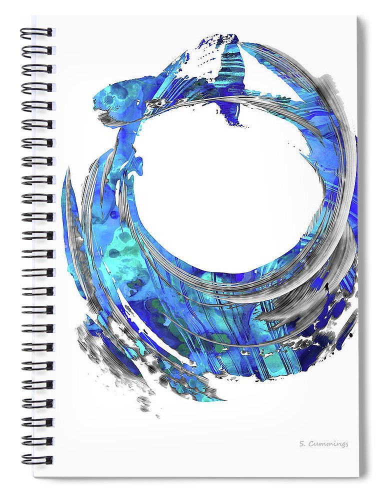 Blue Spiral Notebook featuring the painting Blue Contemporary Art - Swirling 2 - Sharon Cummings by Sharon Cummings