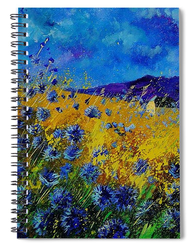 Poppies Spiral Notebook featuring the painting Blue cornflowers by Pol Ledent