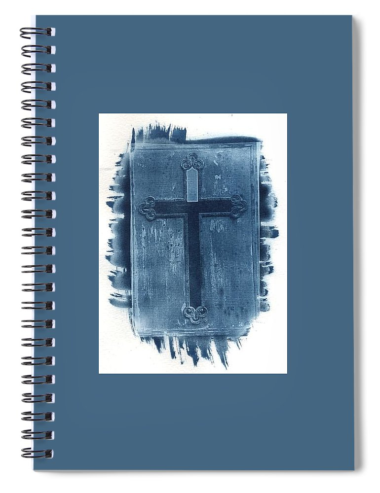 Cyanotype Spiral Notebook featuring the photograph Blue Cross by Jane Linders