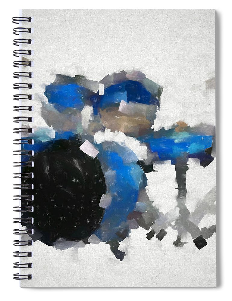 Blue Drums Abstract Spiral Notebook featuring the painting Blue Drums Abstract by Dan Sproul