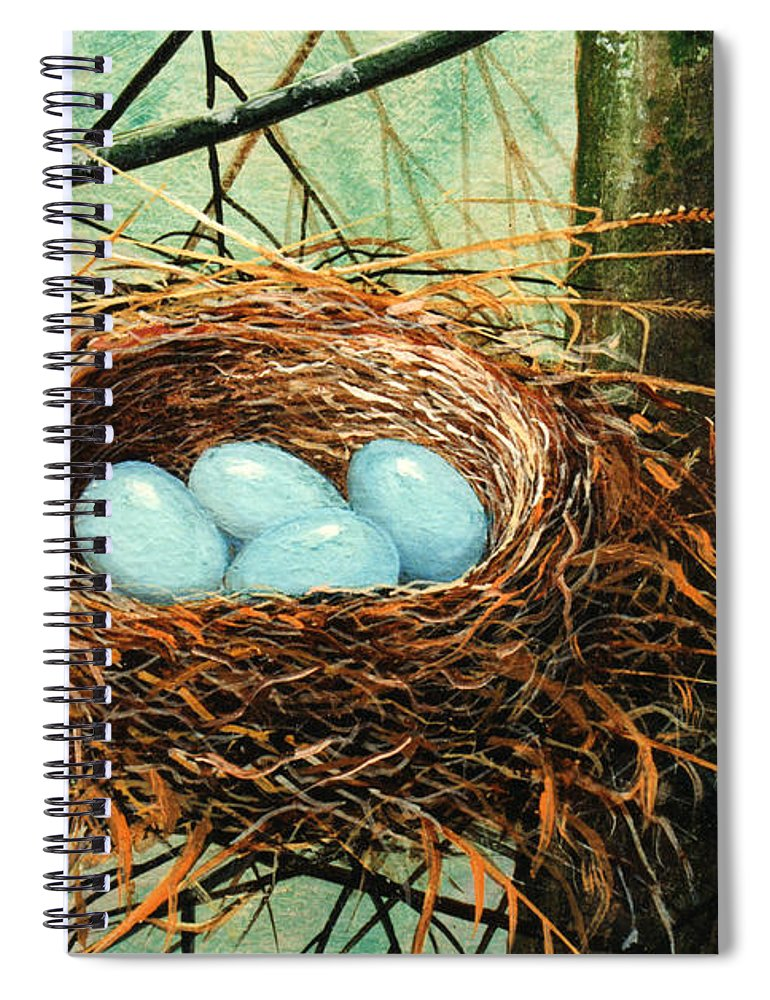 Wildlife Spiral Notebook featuring the painting Blue Eggs In Nest by Frank Wilson