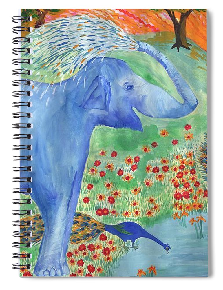 Elephant Spiral Notebook featuring the painting Blue Elephant Squirting Water by Sushila Burgess