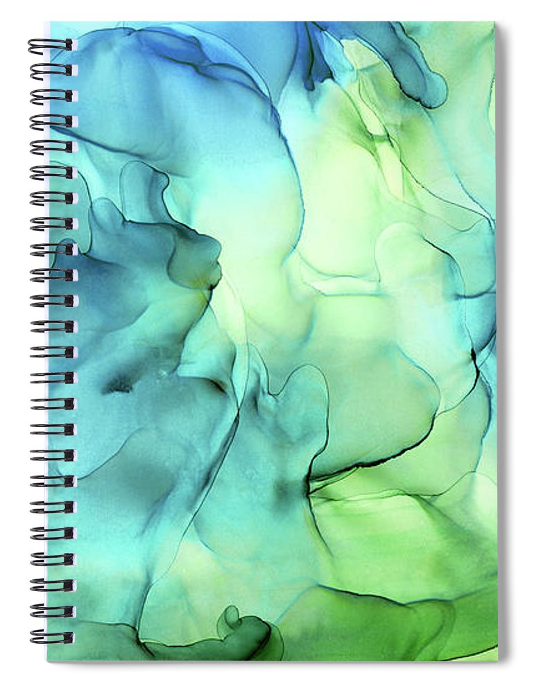 Ink Abstract Spiral Notebook featuring the painting Blue Green Abstract Ink Painting by Olga Shvartsur