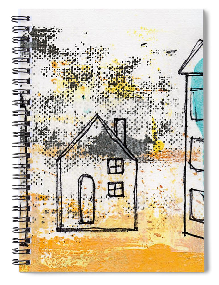 Abstract Spiral Notebook featuring the painting Blue House by Linda Woods