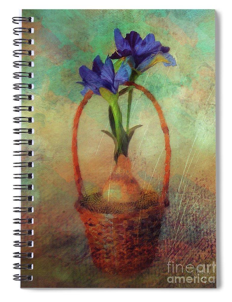 Iris Spiral Notebook featuring the digital art Blue Iris In A Basket by Lois Bryan