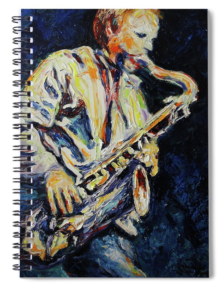 Sax Spiral Notebook featuring the painting Blue Les by Shannon Grissom